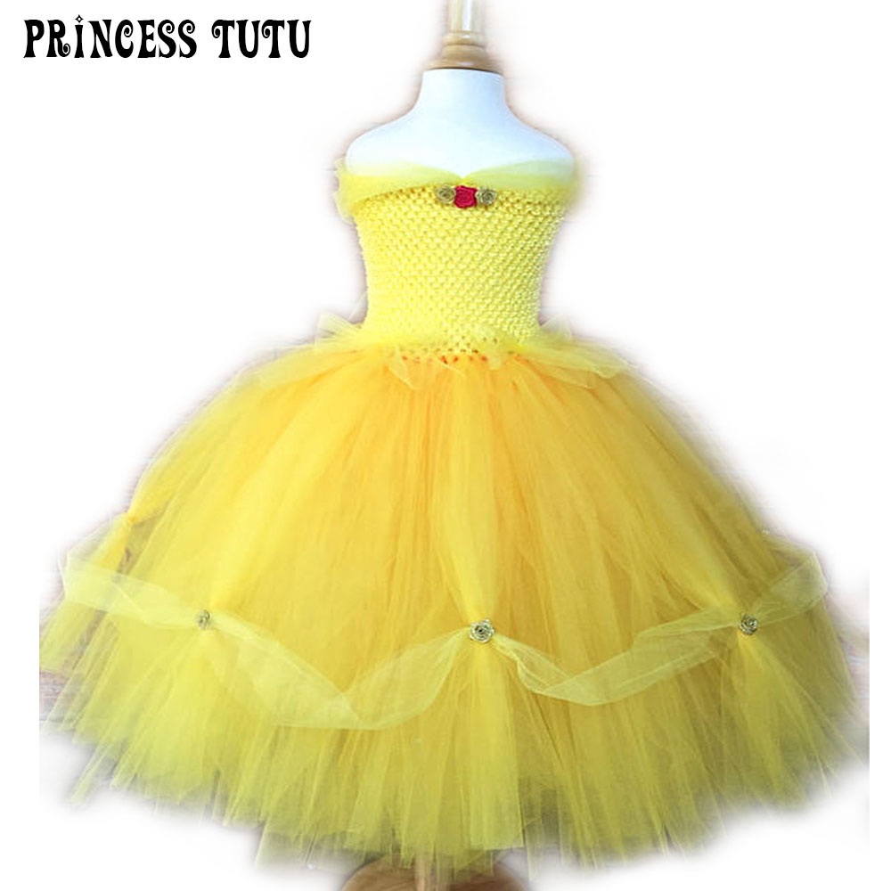 Princess Belle Costume Beauty and Beast Yellow Princess Girl Tutu Dress Beautiful Fluffy Children Birthday Party Cosplay Clothes beauty and the beast cosplay costume prince adam cosplay anime outfit halloween men coat gentleman adult clothes custom made