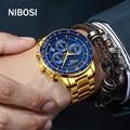 NIBOSI Брендовые мужские кварцевые часы, стальные военные водонепроницаемые мужские часы, лучший бренд, роскошные часы с хронографом, мужские ...