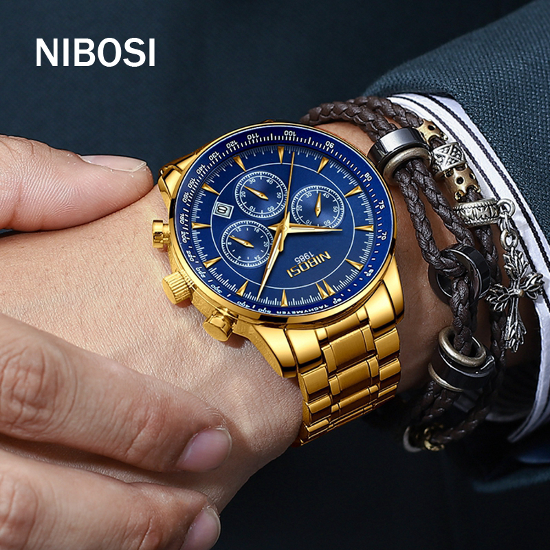 NIBOSI Brand Men Quartz Watch Steel Military Water Resistant Mens Watches Top Brand Luxury Chronograph Watches Men Reloj Hombre
