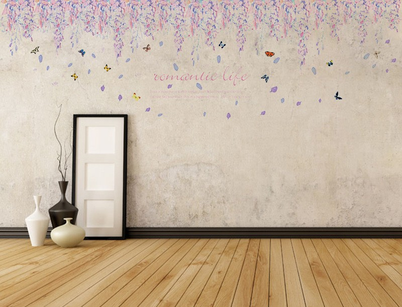 Sk9009 Warm Romantic Diy Removable Wallpaper Purple Flowers Skirting Line Wall Stickers Wall
