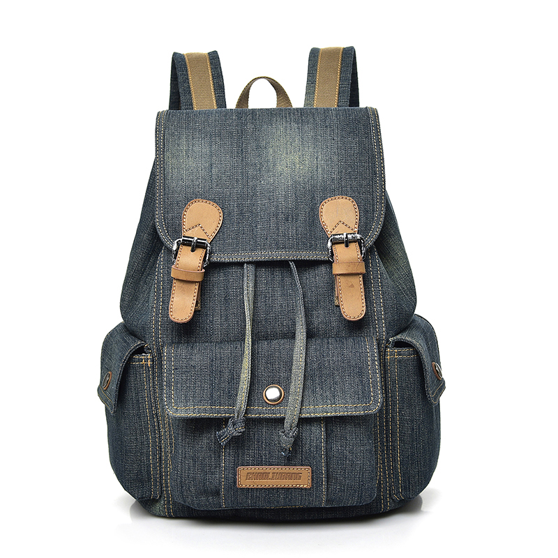 Fashion Denim Cloth Drawstring Backpack Women Casual School Bags For Girls Large Capacity Leisure Female Travel Backpack 9003 2016 newest wave fashion backpack women casual dackpacks backpack school leisure travel school bags women s shoulder bags bolsos