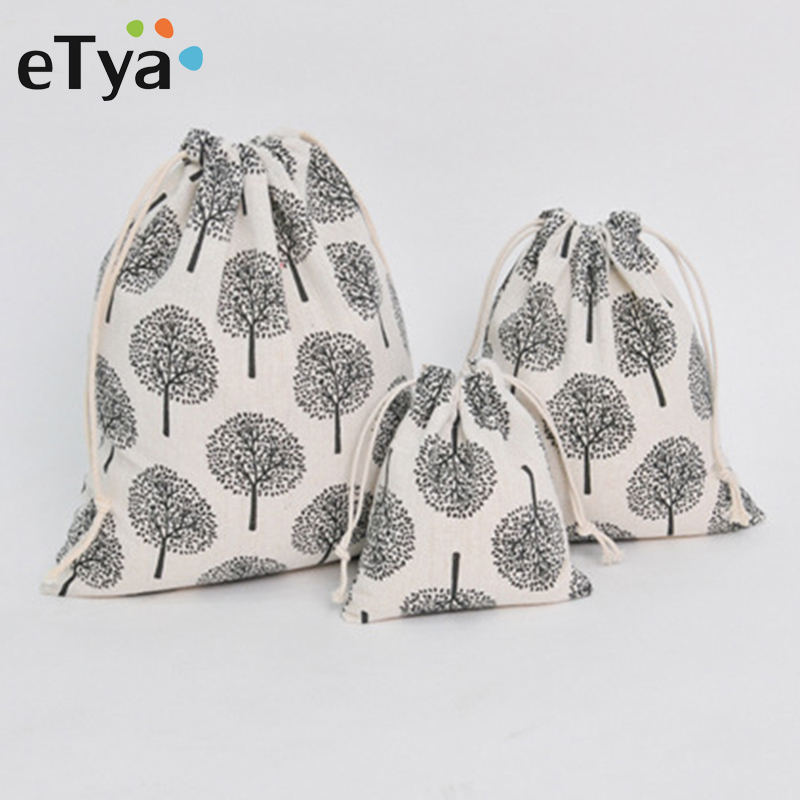 ETya Portable Cotton Drawstring Bag Women Dustproof Travel Shoes Clothes Storage Bags Makeup Organizer Drawstring Shopping Bag