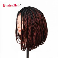 Eunice Lace front Wigs 14 32 inch Synthetic Braided Box braids wig African American Natural Black Purple Crochet Braids Hair