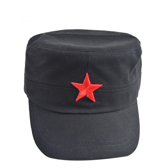 a85c08db9e3 3D Red Star Embroidery Bone Military Cap Black Army Green Flat Top Hats for couple  Men Women Army Gorras Boina Outdoor Sun Hat