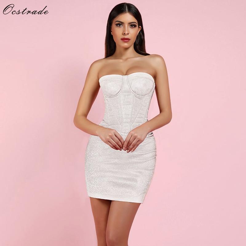 Ocstrade White Strapless Sleeveless Mini Party Bodycon Dress HI1032 White-in Dresses from Women's Clothing    1