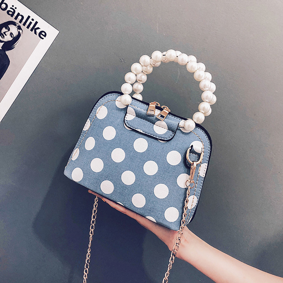 Cute Pearl Handle Women Shoulder Bag White Dots Women Messenger Bag Luxury PU Leather Ladies Tote Fashion Small Girls Bags 2018 fashion pu leather metal handle circular bag small round package shoulder bag girls crossbody tote messenger bags