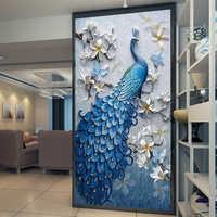 Papel tapiz De foto personalizado murales 3D en relieve Pavo Real flor pasillo entrada Pared De salón decoración Mural Papel De pared 3D