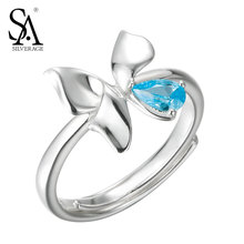 SA SILVERAGE Authentic 925 Sterling Silver Butterfly Rings for Wedding Classic Romantic Blue AAA CZ Fine Jewelry Women Rings