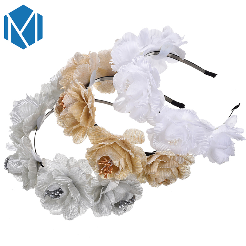 M Mism High Quality Hair Decoration Hairband Girls Pearl String Flower Hair Hoop Women Hair Accessories Headwear Headband Apparel Accessories