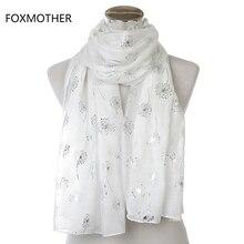 Новые модные женские блестящие белые розовые серые бронзовые серебряные шарфы с одуванчиками для женщин