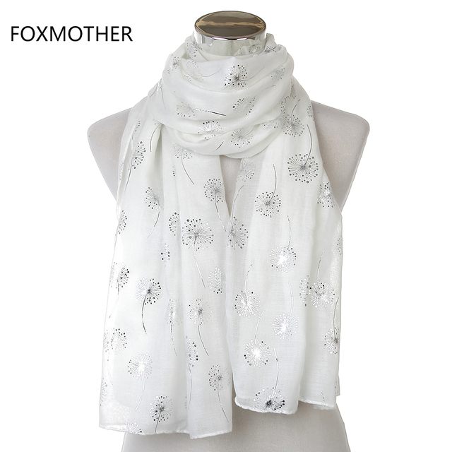 ee35a753f 2018 New Fashion Ladies Shiny White Pink Grey Bronzing Silver Dandelion  Scarves For Womens