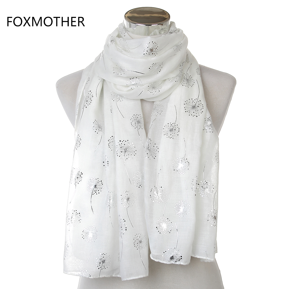 2019 New Fashion Ladies Shiny White Pink Grey Bronzing Silver Dandelion Scarves For Womens