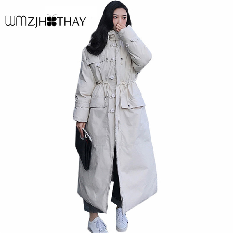 2019 New Winter Fashion Thick Women Coat Winter Jackets Hooded Over Knee Women   Parkas   long Loose Coats Female Plus Size