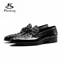 Genuine cow leather brogue wedding Business banquet mens casual flats shoes vintage oxford for men black burgundy 2019