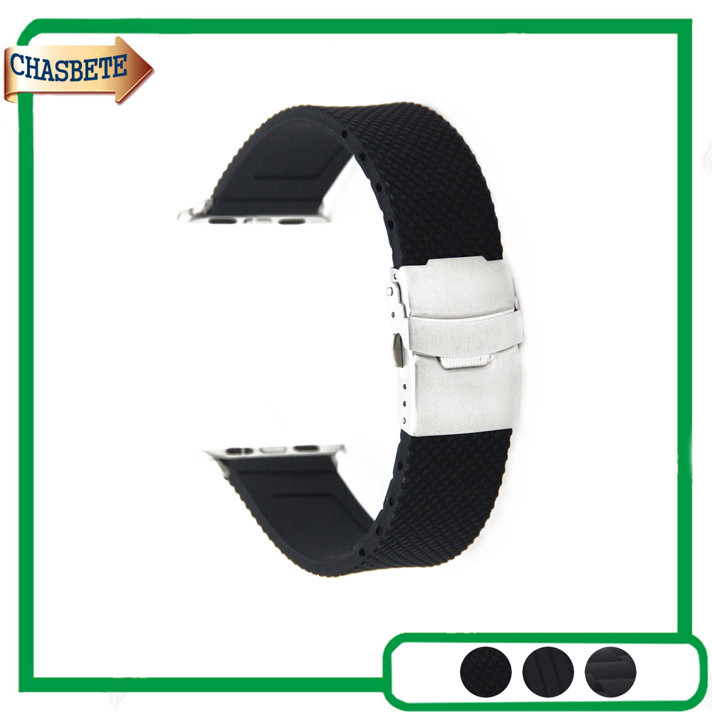 Silicone Rubber Watchband 38mm 42mm for iWatch Apple Watch / Sport / Edittion Strap Band Loop Belt Wrist Bracelet Black + Tool