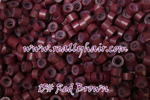 1000pcs bottle silicon lined Micro Links Rings Beads Hair Feather Extensions 15 Red brown