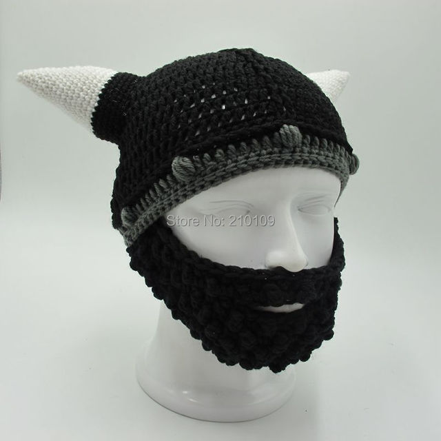 Men's Vikings Helmet Hats Horn Beard Gorros Ski Fancy Dress Handmade Knit Winter Cap Warm Beanies Halloween Gifts Vicking Party