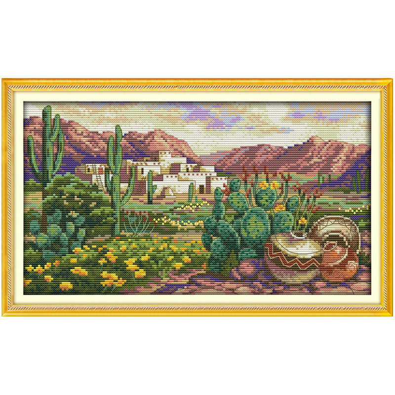 A desert scene painting counted printed on the canvas DMC 11CT 14CT DIY kit Cross Stitch embroidery needlework Sets home decor