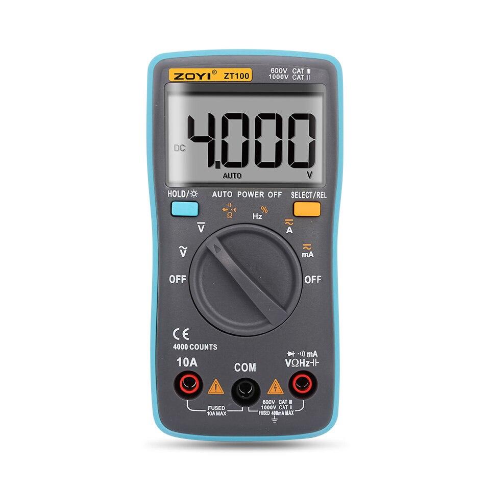 ZOTEK ZT100 ZT101 ZT102 4000~6000 counts Current Voltage Ohm Tester Portable Automatic Range Digital Multimeter