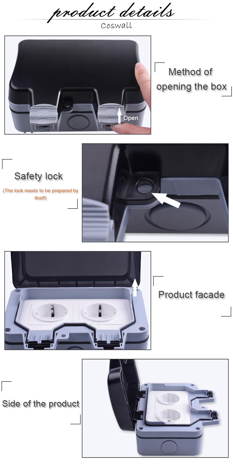 Coswall ip66 weatherproof waterproof outdoor box wall socket 13a double universal switched outlet with usb charging port