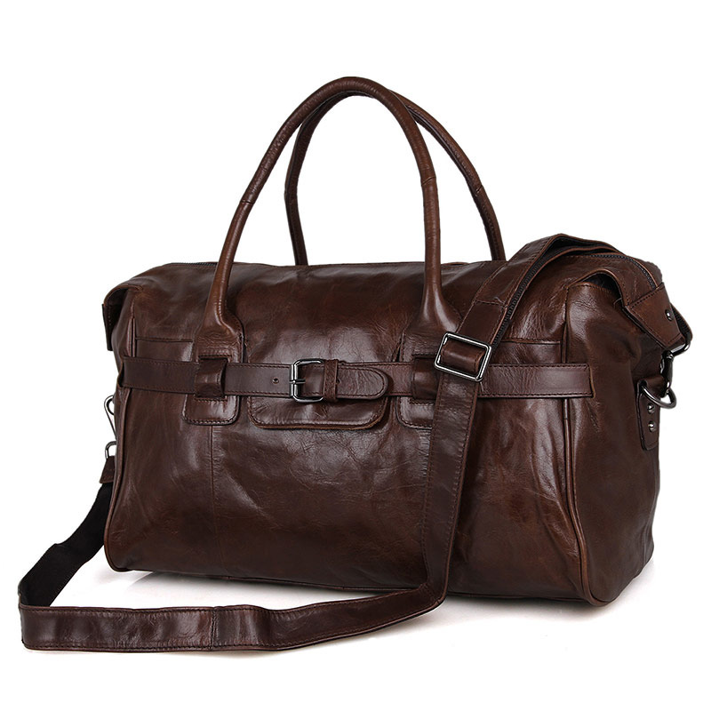 16.5Inch Genuine Leather Travel Bag Men Large Carry On Luggage Bag Men Leather Duffle Bag Overnight Weekend Bag Big Tote