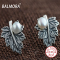BALMORA 100% Real 925 Sterling Silver Jewelry Leaf & Simulated Pearl Retro Stud Earrings for Women Lover Gifts Bijoux SY31284