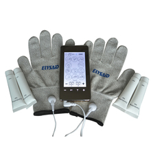 Phone Style TENS Touch Screen Electri-therapy Healthcare Massager+1Pair Physiotherapy Gloves+4Pcs Conducting Gel