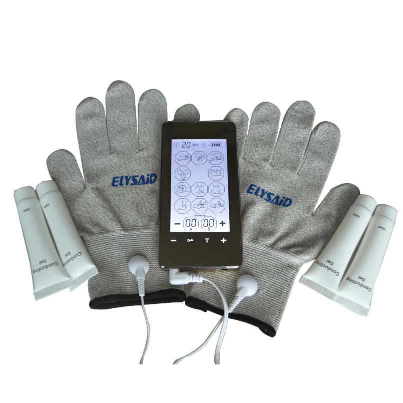 Phone Style TENS Touch Screen Electri therapy Healthcare Massager+1Pair Physiotherapy Gloves+4Pcs Conducting Gel