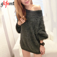 Gkfnmt 2017 Winter Thick Sweater Women Casual Mink Cashmere Pullover Ladies Warm Sexy Slash Neck Oversized