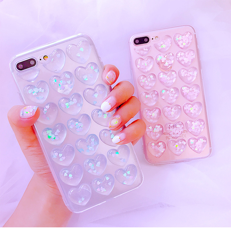 For Samsung Note 9 S9 Plus S8 Plus Cases 3D Glitter Love Heart Korean Clear Case For iPhone X Xr Xs Max 7 8 6S Plus Girly Cover