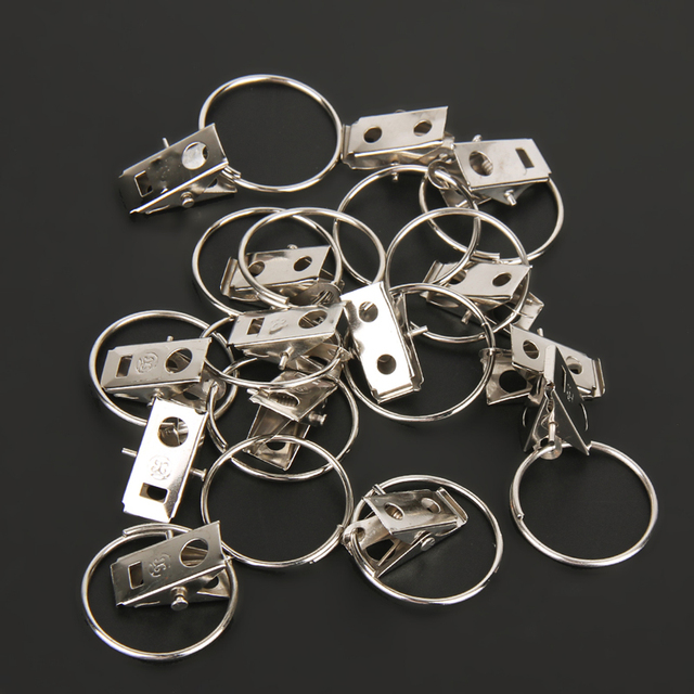 20pcs/pack Stainless Steel Curtain Hook Clips Window Shower Curtain Rings  Clamps Drapery Clips Curtain