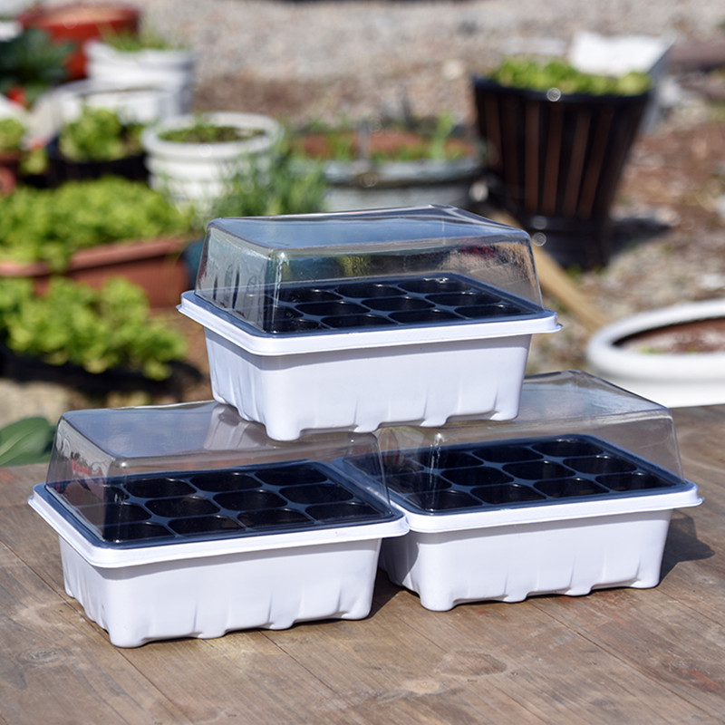 2pcs Nursery Tray with Lids 12 Holes Seeding Tray Grow Box