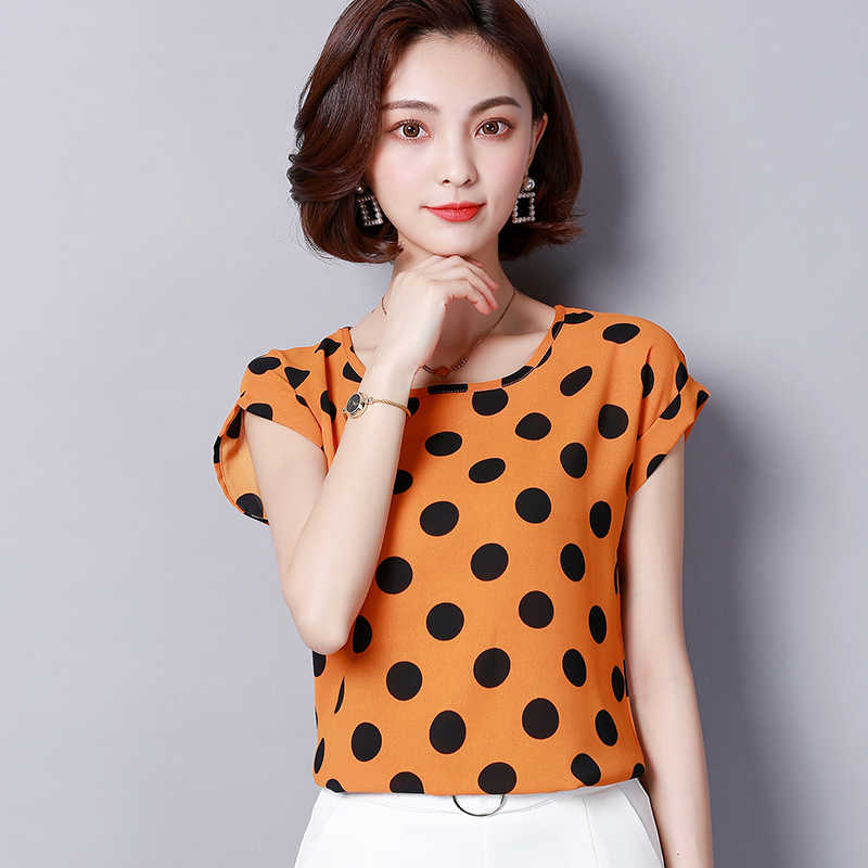 e6fc8c4fcbc ... fashion 2019 chiffon women blouse shirt summer short sleeve print women s  clothing plus size o-