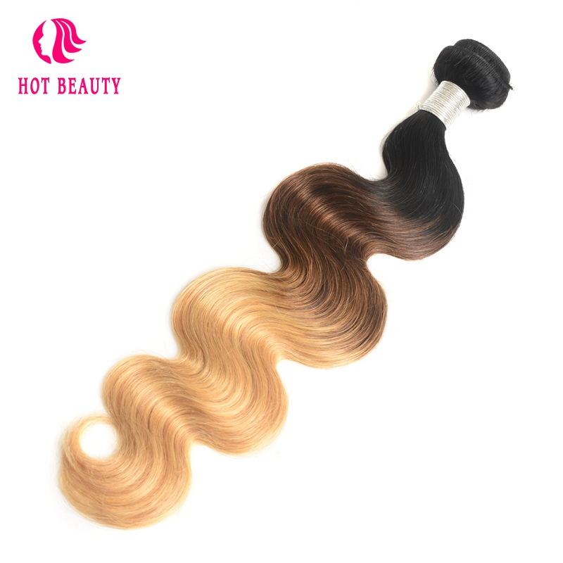 Hot Beauty Hair Ombre Brazilian Hair Weave Body Wave Bundles T1B/4/27 Human Hair Extensions 1 Piece 3 Tone Blonde Non Remy Hair