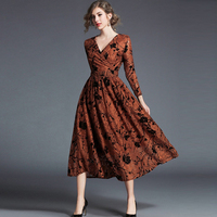 2018 Runway Designer Lace Dress Women High Quality Lace Elegant Sexy Hollow Out V Neck Evening