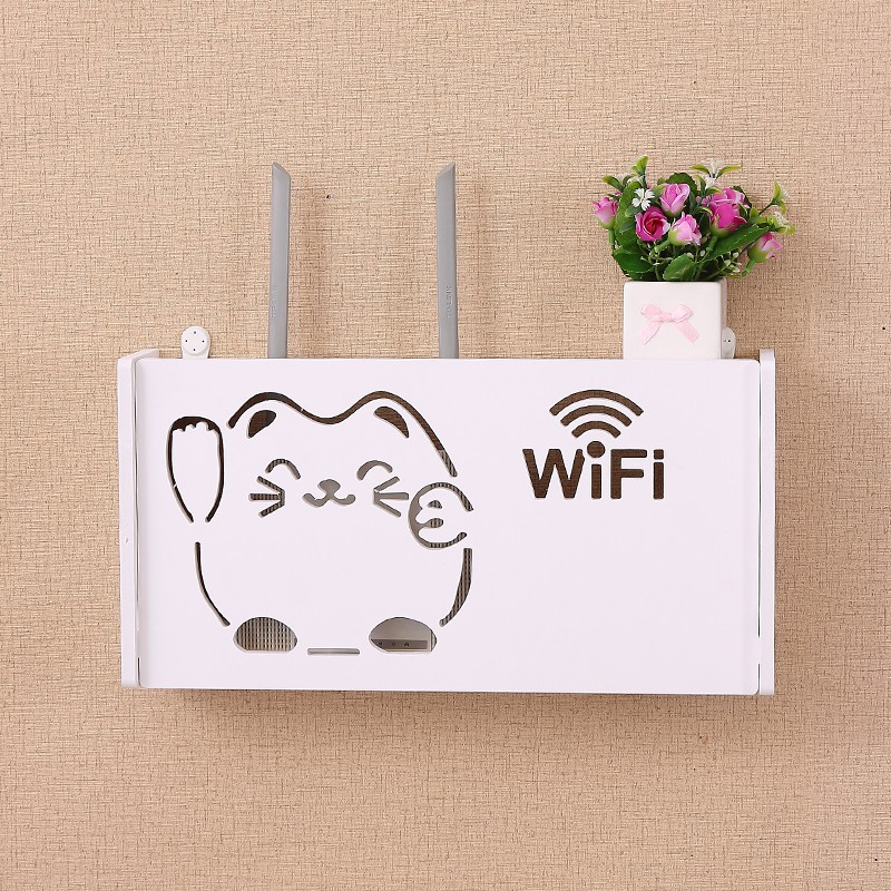 Wireless Wifi Router Storage Box Wall Shelf Hanging Plug Board Bracket Cable boxes Wood Plastic Home