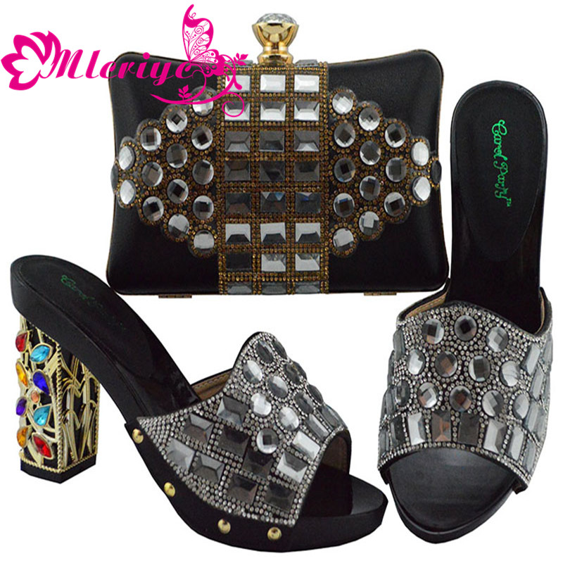 New Shoes and Bag Set African Sets 2019 African Matching Shoe Bag Set for Party In Women Nigerian Shoes and Bag Set for Women