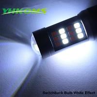 YHKOMS 2 Stks 3157 7443 1157 BA15D BAU15D BAY15D Switchback Amber LED Richtingaanwijzer Wit DRL Bollen