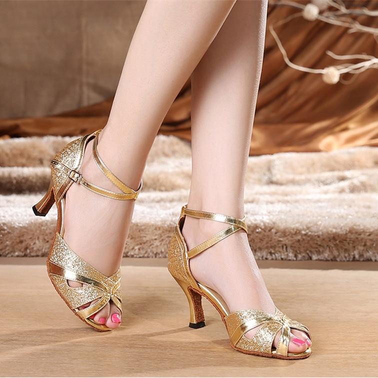 Women's Latin Dance Shoes Customize Heel PU Buckle Ballroom Silver Gold Dancing  For Women