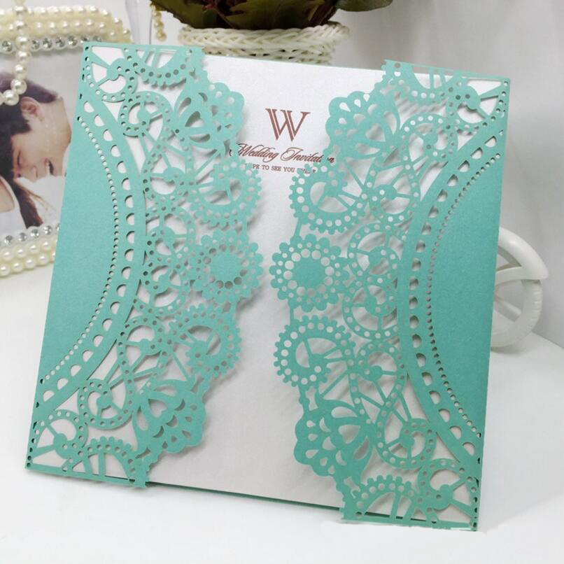 50pcs/pack New Hollow Flower Business / Celebration / Birthday / Wedding Laser Cut Invitation with Envelope Blank Inner page 1 design laser cut white elegant pattern west cowboy style vintage wedding invitations card kit blank paper printing invitation