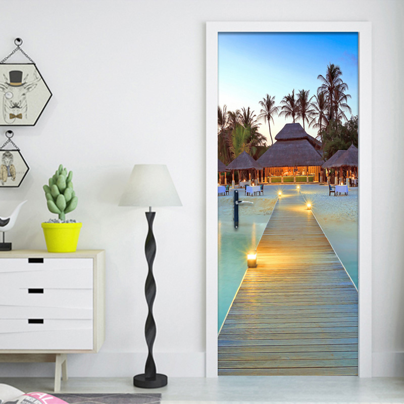 Photo Wallpaper Custom 3D Wall Mural Seaside Beach Landscape Door Mural Sticker Living Room Restaurant Creative Decor Wall Paper john richmond beachwear футболка без рукавов