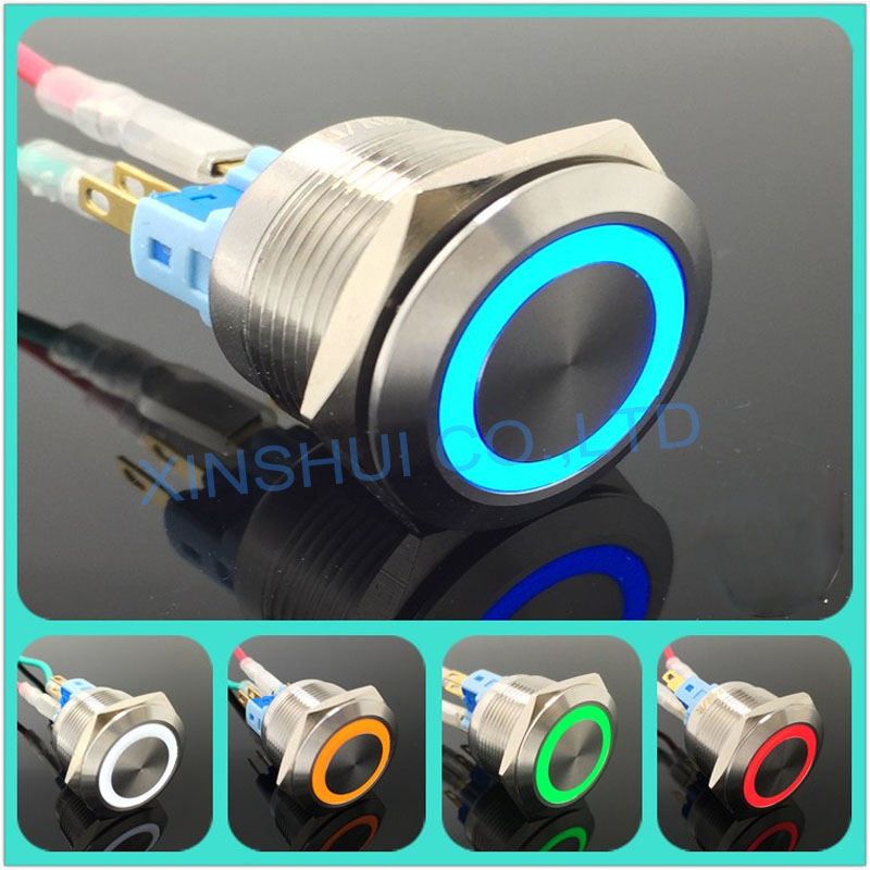 Stainless Steel Metal LED 22mm Push Button Switch 3v 5v 6v 12v 24v 48v 110v 220v Car Ring Light Switch Self Latching