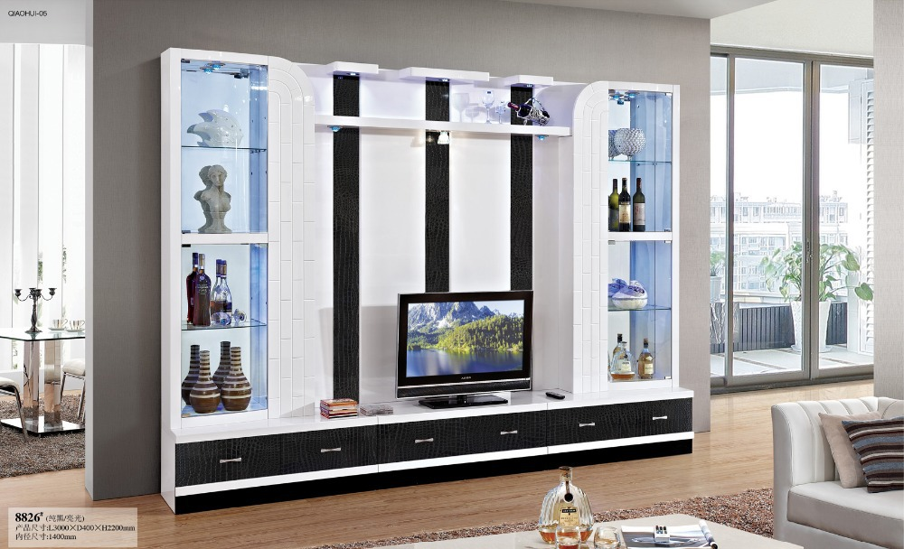 Simple tv cabinet glass shelf white paint modern brief tv wall unit TV cabinet with display cabinet-in TV Stands from Furniture on Aliexpress.com | Alibaba ... & Simple tv cabinet glass shelf white paint modern brief tv wall unit ...