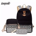 AEQUEEN Fashion 3 PCS/Set Rucksack Bag Canvas Girl School Bags For Teenagers Backpack Three Piece Suit Mochila Lady Shoulder Bag