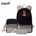 Moda 3 unids/set aequeen mochila bolsa de lona de la muchacha bolsas de la escuela para adolescentes mochila de tres piezas traje de dama mochila bolsa de hombro