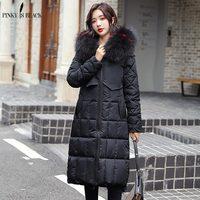 PinkyIsBlack 2019 Fur Hooded Parkas Women Jacket Coat Quilted Winter Jacket Women Casual Down Cotton Long Padded Jacket Female