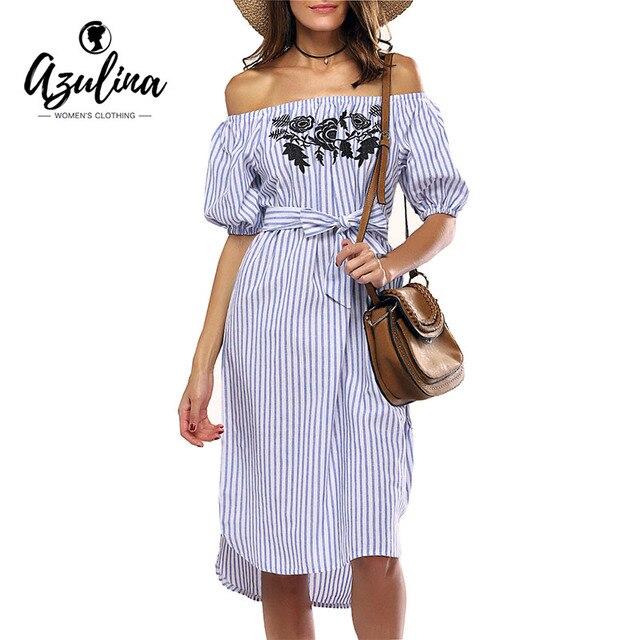 AZULINA Повседневная Синий Полосатый футболка лето Dress Женщины С Плеча Цветочный Вышивка Сексуальный Пляж Midi Dress Сарафан 2017