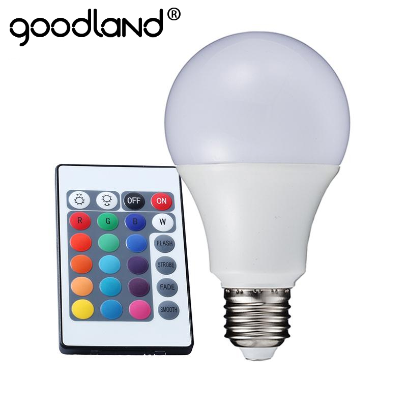 Goodland E27 RGB LED Bulb 3W 5W 7W LED Lamp Light 220V 110V LED RGB Lampada 16 Color IR Remote Control Home Christmas Decoration free shipping remote control colorful modern minimalist led pyramid light of decoration led night lamp for christmas gifts