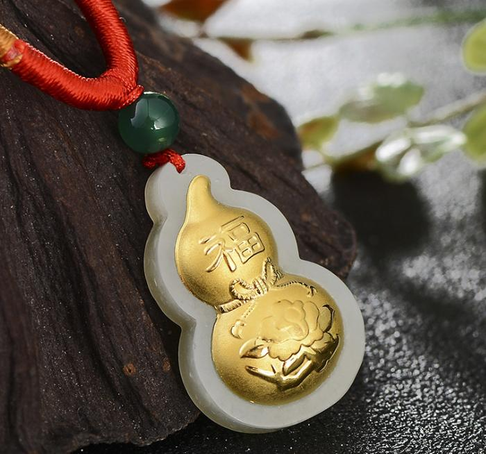 Jewelry & Accessories Fine Jewelry Genteel 3d Hetian Jade Set With Gold Gourd Pendanth01# Modern Design