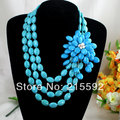 Free Shipping Splendid 3 Rows Blue Turquoise Necklace New Fashion Large Turquoise Flower Beaded Jewelry AJS052